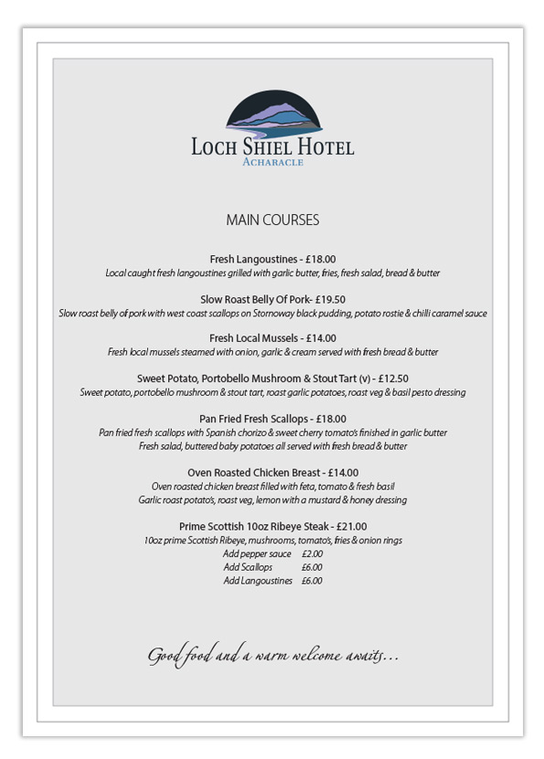 Loch Shiel Hotel Summer Menu