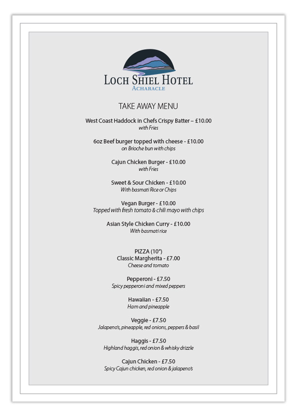 Loch Shiel Hotel Take Away Menu